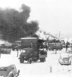 Picture from 1958 of the crashed aeroplane on fire at Munich