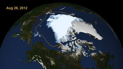 NASA image of Arctic sea on 26th August 2012, with much of the ice cover (except next to Greenland and eastern Canada) gone