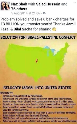 A Facebook status by Naz Shah, posted 5th August 2014, showing a map of the USA with Israel superimposed in the middle, with a list of reasons why Israel should be relocated there.