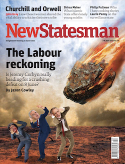 A front page from the New Statesman, showing a fireball hurtling from space towards three men