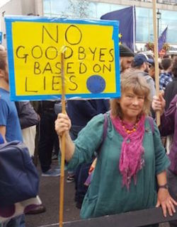 "A white woman with wavy hair wearing a green jumper with a pink scarf round her neck, holding a home-made banner saying ""No goodbyes based on lies"", with a hand-drawn EU flag."