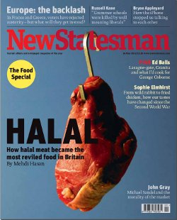 "Image of the New Statesman's front page from 14th May 2012, with headline ""Halal: Britain's most feared meat"" with a cut of meat hanging from a hook"