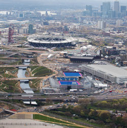 Aerial view of the Mittal tower and the Olympic stadium in east London