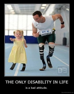 A picture of Oscar Pistorius running alongside a little girl in a yellow dress with prosthetic legs similar to his