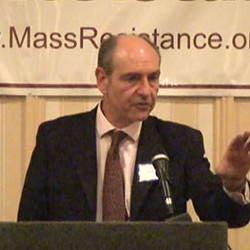 Picture of Paul Diamond, addressing a 'pro-family' rally in Massachusetts
