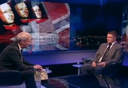 Still from a BBC interview of Stephen Lennon (of the English Defence League) by Jeremy Paxman