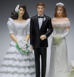 A graphic showing a man in the middle wearing a tuxedo and bow tie, and a woman on each side, both wearing wedding dresses of different styles though both white.