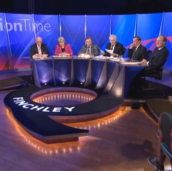 The panel for the 11th April 2013 Question Time: Menzies Campbell, Polly Toynbee, Kenneth Clarke, presenter David Dimbleby, David Blunkett and Charles Moore