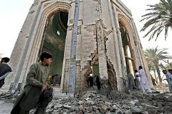 Picture of the destroyed shrine of Rahman Baba in Pakistan