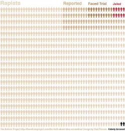 An infographic showing what its authors claim are the numbers of rapists with those facing trial or jailed, with two marked 'falsely accused'