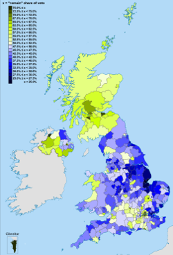 A map showing results of the referendum by local authority area