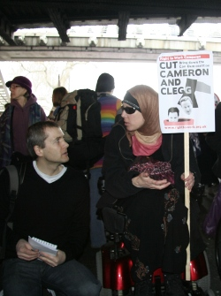 Picture of Riven Vincent being interviewed under Hungerford Bridge, 26th March 2011