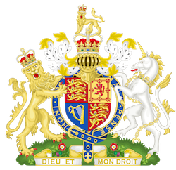 The British royal coat of arms, containing a gold shield showing emblems of all four nations of the UK, with a lion to the left, a white horse to the right, and the garter emblem around it with the slogan 'Honi soit qui mal y pense'.
