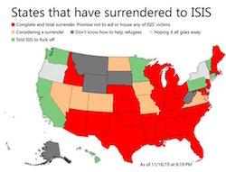 "A map of US states showing those that have ""surrendered to ISIS"" by refusing to take ISIS's victims and those who have ""told ISIS to fuck off"" (California, Washington, Minnesota, Pennsylvania, Delaware and Connecticut)."