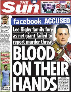 Front page of today's Sun, with the headline 'Blood on their hands' and Facebook's logo