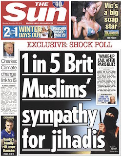 "Front page of the Sun, 22nd Nov 2015. Headline reads ""1 in 5 Brit Muslims' sympathy for jihadis"""
