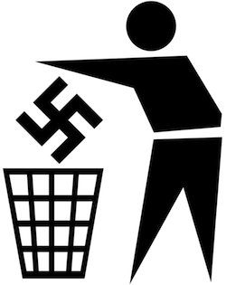 Graphic of a person putting a swastika in a dustbin