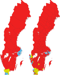 Map showing the largest party in each constituency (left) and municipality (right) in Sweden in the 2018 parliamentary election; yellow represents the Sweden Democrats (concentrated around three cities in the south), blue the Moderate party (concentrated near Stockholm) and red represents the Social Democrats (everywhere else)