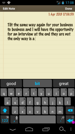 A screenshot from an Android phone, showing a nonsense phrase generated by tilting the phone in different ways.
