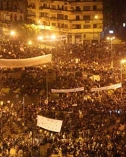 Picture of the demonstrations in Tahrir Square, Cairo, Egypt