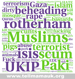 A word cloud consisting of words used in hate crimes reported to Tell MAMA; prominent ones include terrorism, beheading, rape, Rotherham, ISIS, scum, rape, UKIP and Paki. It also includes more common racial slurs, swear words, terrorism references, and misspellings of all of the above.