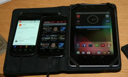 A Galaxy Nexus, a Nexus 4 and a Nexus 7 side by side