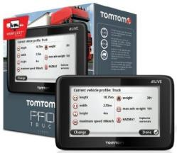 Picture of a TomTom sat-nav showing truck specifications, next to its box.