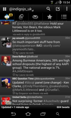 A screenshot of TweetCaster, an Android Twitter client