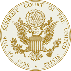 "The seal of the US Supreme Court, consisting of a stylised eagle holding out arrows in one foot and an olive branch in the other, the slogan ""E pluribus unum"" on a banner round the back of its neck and the words ""Seal of the Supreme Court of the United States"" in all caps round the outside."