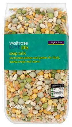 "A bag of Waitrose's ""Love Life"" soup mix containing barley, yellow and green split peas, marrowfat peas, lentils and brown rice"