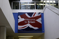 'Welcome to Britain' sign at Heathrow airport