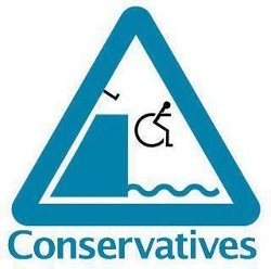 Image of a wheelchair being kicked off a dock into water, with the word 'Conservatives' underneath
