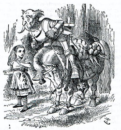 A drawing of a knight in armour about to be projected head first off his horse, while a young girl watches.