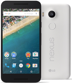 A white Nexus 5X seen from front and back. The back has the light sensor, camera, fingerprint sensor, and Nexus and LG logos. The front has the speakers, and the screen which shows an aerial view of a beach with houses fronting it, with various application icons.