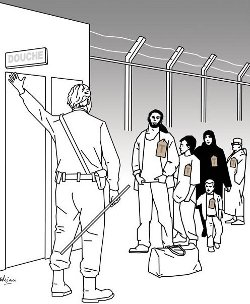 Cartoon of man standing outside building signed 'Douche' (shower), with a group of Muslims lining up