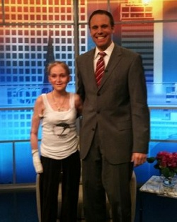 Picture of Samantha Hall with a presenter from Fox 23 TV