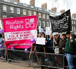 Picture of abortion demo in Bedford Square, London