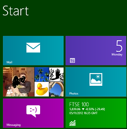 "A screenshot from a Windows 8 ""Start"" screen, showing coloured tiles with an envelope, a smiley and various app details, and some contact icons"
