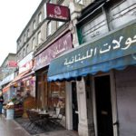 Picture of Muslim-owned shops in Acton, west London, from the Telegraph. Two shops are clearly visible, one closed down, both with clearly visible Arabic lettering; rest are out of focus.