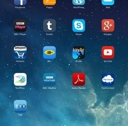 Screenshot from an iPad's home screen, showing various app icons.