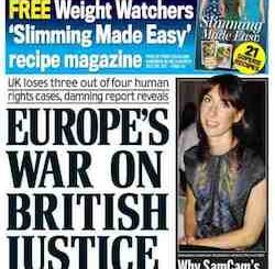 "A front page from the Daily Mail, with the headline ""Europe's war on British justice: UK loses three out of four human rights cases, damning report reveals"""