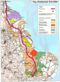 A map of the eastern UK showing a new motorway route running from the M11 in Essex to the north-east via Hull