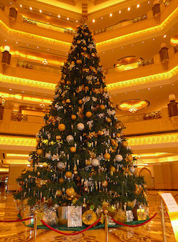 A Christmas tree in the Emirates Palace hotel, Abu Dhabi