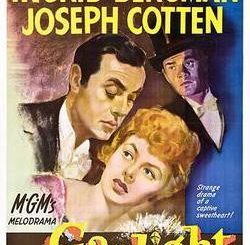 "A 1944 poster with drawings of Charles Boyer, Ingrid Bergman and Joseph Cotton (two white men and a white woman, with the woman at the bottom), with their names in yellow capital letters at the top and at the bottom, the words ""MGM's melodrama: Gaslight""."