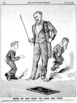 A black and white drawing of a man holding a cane aloft about to hit a boy's hand with it.