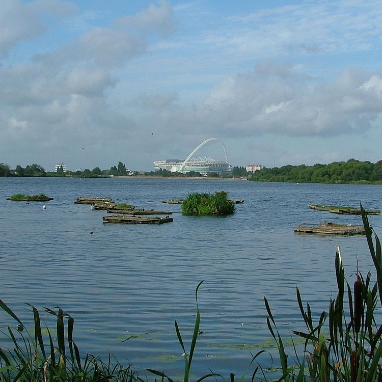 A view of Wembley Stadium (in the borough of Brent, London, where this incident took place), which has a large metal arch over it, as seen from Brent reservoir. A number of small boats are visible in the foreground.