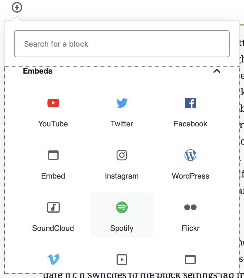 "A screenshot of the ""embeds"" menu in the WordPress 5.0 block selector."