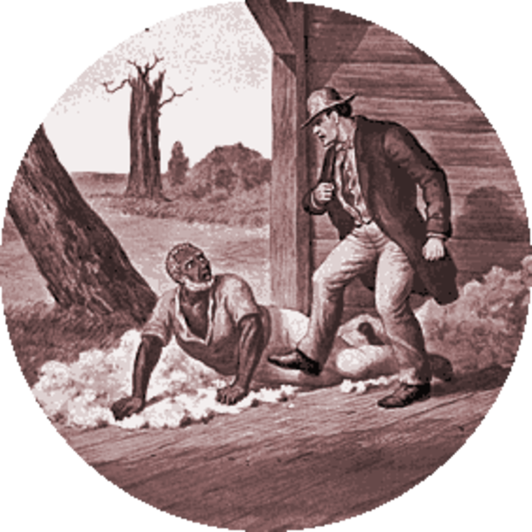 Monochrome drawing from a magic lantern series based on Uncle Tom's Cabin,of a white man, Simon Legree, assaulting Uncle Tom, who has been knocked to the ground.