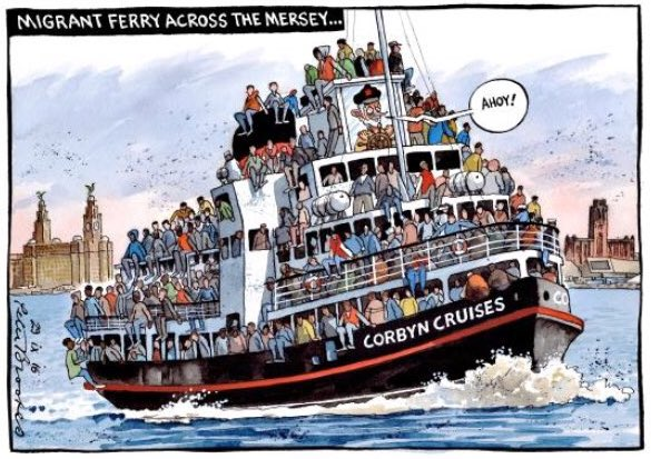 "A cartoon of a boat with five levels, on all of which people are standing (some are sitting on the walls). The slogan ""Migrant ferry across the Mersey"" appears at the top and the name ""Corbyn Cruises"" is on the offside of the boat near the front."