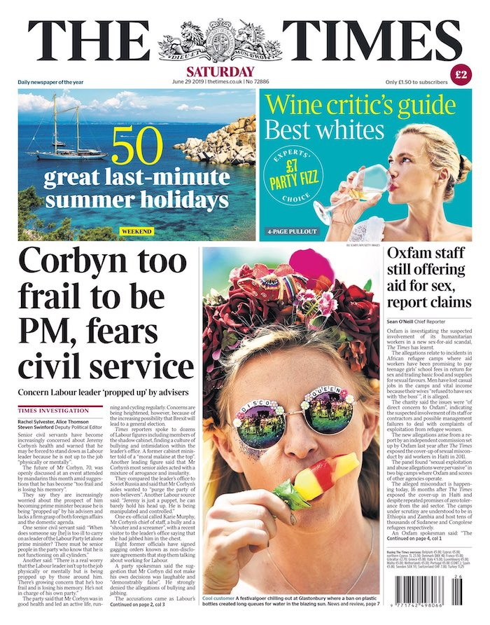 "A front page from The Times, with the headline ""Corbyn too frail to be PM, fears civil service""."